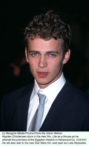 Hayden Christensen stars in the new film, Life as a House as he attends the premiere at the Egyptian theatre in Hollywood Ca. 10/24/01.He will also star in the new Star Wars film next year as Luke Skywalker. © 2001 Glenn Weiner - Image 19650_0103