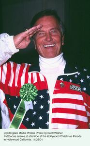 Pat Boone arrives at attention at the Hollywood Christmas Parade in Hollywood California. 11/25/01 © 2001 Scott Weiner - Image 19710_0127