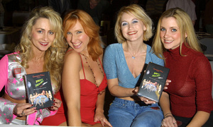 The cast of Bikini Planet [from left to right]Stacy Stentura, Stephanie Beaton, Brenda Baker & Vanessa Ross launched there DVD & VHS tapes at the Hollywood Collectors show held at the Beverly Garland hotel in North Hollywood California 1/20/02. © 2002 Glenn Weiner - Image 19812_0100