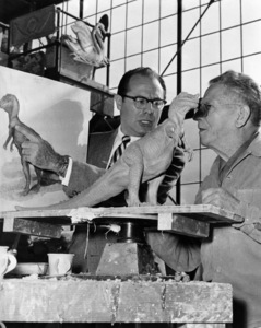"""Irwin Allen and sculptor, Pasqual Manuelli, during the making of """"The Animal World""""1956 - Image 20105_0001"""