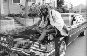 George Clinton, of Parliament-Funkadelic, sitting on a Cadillac limousine in Hollywood1977© 1978 Bobby Holland - Image 20242_0047