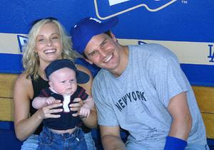 Hollywood Stars Baseball Game 8/10/02David Boreanaz with wife Jaime Bergman and son © 2002 Glenn Weiner - Image 20372_0117