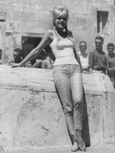 Brigitte Bardot leans against wall during visit to Italy1961 - Image 2043_0157