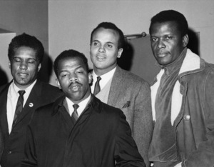 James Forman, John Lewis, Harry Belafonte and Sidney Poitier post bonds for civil rights1966 - Image 2061_0040