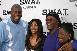 """S.W.A.T."" Premiere 7-30-03Earvin ""Majic Johnson, wife, Samuel L. Jackson, wifePhoto By Sam Kweskin - Image 21354_0033"