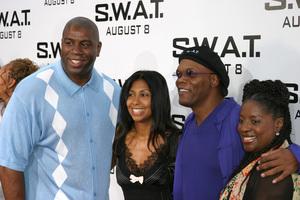 """S.W.A.T."" Premiere 7-30-03Earvin ""Majic Johnson, wife, Samuel L. Jackson, wifePhoto By Sam Kweskin - Image 21354_0035"