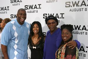 """S.W.A.T."" Premiere 7-30-03Earvin ""Majic Johnson, wife, Samuel L. Jackson, wifePhoto By Sam Kweskin - Image 21354_0036"