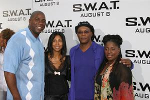 """S.W.A.T."" Premiere 7-30-03Earvin ""Majic Johnson, wife, Samuel L. Jackson, wifePhoto By Sam Kweskin - Image 21354_0056"