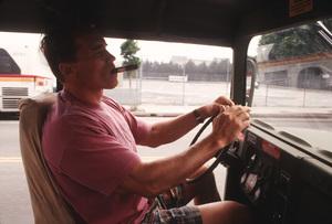 Arnold Schwarzenegger in his HumveeJune 1994 © 1994 Bruce McBroom - Image 21403_0009