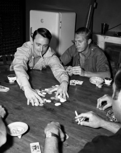 """Robert Vaughn and Steve McQueen playing cards off the set of """"The Magnificent Seven"""" 1960** I.V. - Image 21421_0024"""