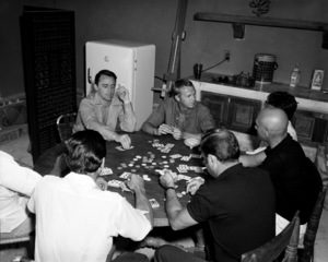 """Robert Vaughn, Steve McQueen and Yul Brynner playing cards off the set of """"The Magnificent Seven"""" 1960** I.V. - Image 21421_0028"""