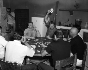 """Robert Vaughn, Steve McQueen and Yul Brynner playing cards off the set of """"The Magnificent Seven"""" 1960** I.V. - Image 21421_0031"""