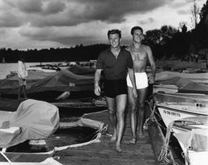 Edd Byrnes and Roger Smith at Lake Arrowhead boat dockcirca 1960Photo by Joe Shere - Image 2144_0055