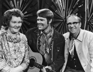 Glen Campbell with his parents, John Wesley and Carrie Dell (Stone) Campbellcirca 1970Photo by Gabi Rona - Image 2153_0023