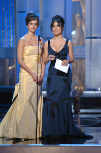 Penelope Cruz and Salma Hayek present the Academy Award for Achievement in Sound Editing during the 77th Annual Academy Awards at the Kodak Theatre in Hollywood, CA on Sunday, February 27, 2005.  HO/AMPAS - Image 22270_0192