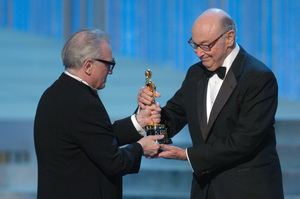 Academy Award nominee Martin Scorsese presents the Jean Hersholt Humanitarian Award to Roger Mayer during the 77th Annual Academy Awards at the Kodak Theatre in Hollywood, CA on Sunday, February 27, 2005.  HO/AMPAS - Image 22270_0210