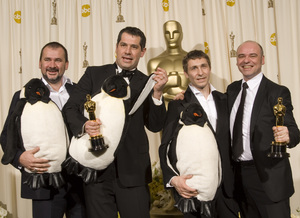 """""""The 78th Annual Academy Awards"""" (Press Room)The filmmakers of """"March of the Penguins"""" (Emmanuel Priou, Luc Jacquet, Yves Darondeau, Christophe Lioud)03-05-2006 / Kodak Theatre / Hollywood, CA © 2006 AMPAS - Image 22701_0032"""