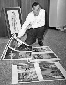 Hugh Hefner looking over proofsheets for Playboy Magazine1961** I.V. - Image 22727_0180
