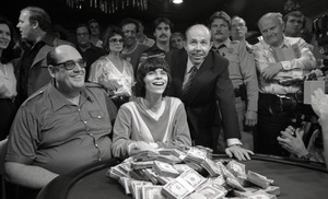 """Poker Face""Stu Ungar heads up with poker legend Doyle Brunson.  Stu won!  And went on for a total of 3 World Series of Poker wins.  Stu died young and now a legend.  Jack Binion (far right) ran the series in the 70s at Binion"