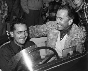 Cars Phil Hill and Charles Hornburg in a Jaguar C-Type factory race car / Elkhart Lake, Wisconsin circa 1952 ** H.C. - Image 22813_0020