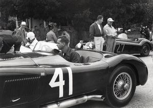 Cars Phil Hill in a Jaguar factory C-Type race car / Elkhart Lake, Wisconsin circa 1952 ** H.C. - Image 22813_0028