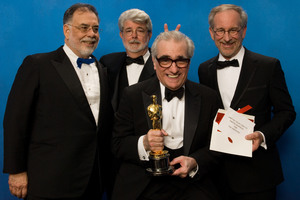 """""""Academy Awards - 79th Annual"""" (Press Room)Francis Ford Coppola,  George Lucas, Academy Award winner for Achievement in Directing Martin Scorsese, Steven Spielberg2-25-07Photo by Todd Wawrychuk © 2007 A.M.P.A.S. - Image 22937_0033"""