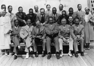 "Edward Kennedy ""Duke"" Ellington and his orchestra in Southampton, England (Bill Bailey, Bessie Dudley, Sonny Greer, Fred Guy, Freddy Jenkins, Harry Carney, Otto Hardwicke, Jack Hylton, Barney Bigard, Spike Hughes, Duke Ellington, Cootie Williams, Wellman Braud, Johnny Hodges, Irving Mills, Juan Tizol, Joe Nanton, Arthur Whetsol, Lawrence Brown, Ivie Anderson)1933** I.V.M. - Image 2326_0127"