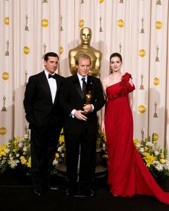 """Academy Awards - 80th Annual"" (Press Room)Steve Carell, Brad Bird, Anne Hathaway2-24-2008Photo by Matt Petit © 2008 A.M.P.A.S. - Image 23359_0042"