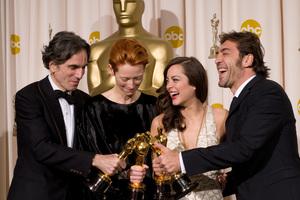 """Academy Awards - 80th Annual"" (Press Room)Daniel Day-Lewis, Tilda Swinton, Marion Cotillard, Javier Bardem2-24-2008Photo by Matt Petit © 2008 A.M.P.A.S. - Image 23359_0066"
