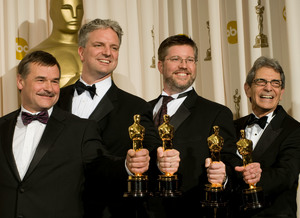 """Academy Awards - 80th Annual"" (Press Room)Michael L. Fink, Bill Westenhofer, Ben Morris, Trevor Wood2-24-2008Photo by Matt Petit © 2008 A.M.P.A.S. - Image 23359_0068"