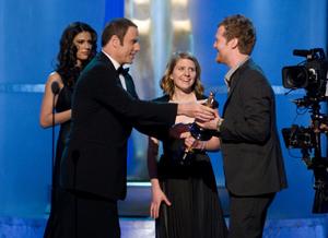 """Academy Awards - 80th Annual"" (Telecast)John Travolta, Marketa Irglova, Glen Hansard2-24-08Photo by Michael Yada © 2008 A.M.P.A.S. - Image 23359_0168"