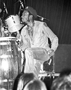 Jimmy Cliff backstage at the Roxy theater in West Hollywood firing up a joint after his concert circa late 1970s© 1978 Michael Jones - Image 23594_0012