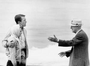 """Director Henry King with Gregory Peck and Deborah Kerr on the Malibu location of """"Beloved Infidel""""1959 20th Century Fox © 1978 Bob Willoughby - Image 23648_0001"""