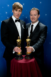 """The 81st Annual Academy Awards"" (Backstage)Dustin Lance Black, Simon Beaufoy02-22-2009Photo by Todd Wawrychuk © 2009 A.M.P.A.S. - Image 23704_0261"
