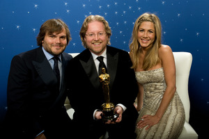 """The 81st Annual Academy Awards"" (Backstage)Jack Black, Andrew Stanton, Jennifer Aniston02-22-2009Photo by Todd Wawrychuk © 2009 A.M.P.A.S. - Image 23704_0265"