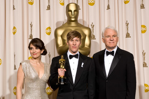 """""""The 81st Annual Academy Awards"""" (Press Room)Dustin Lance Black, Tina Fey, Steve Martin 02-22-2009Photo by Bryan Crowe © 2009 A.M.P.A.S. - Image 23704_0286"""