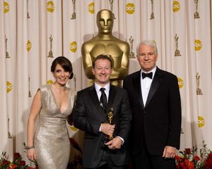 """The 81st Annual Academy Awards"" (Press Room)Tina Fey, Simon Beaufoy, Steve Martin02-22-2009Photo by Bryan Crowe © 2009 A.M.P.A.S. - Image 23704_0288"