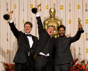 """""""The 81st Annual Academy Awards"""" (Press Room)Ian Tapp, Richard Pryke, Resul Pookutty02-22-2009Photo by Bryan Crowe © 2009 A.M.P.A.S. - Image 23704_0312"""