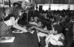 Teena Marie and Alonzo Miller of KACE radio station in Los Angeles at a Freeway Records store sales promotion 1980 © 1980 Bobby Holland - Image 23730_0026