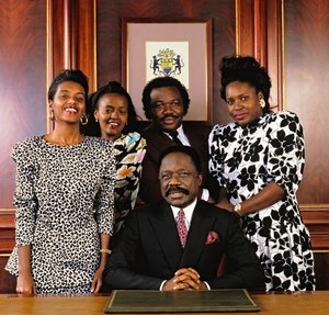 President Omar Bongo (President of Gabon), Grace Bongo, Patrice Bongo, Ali Bongo and Pascaline Bongo at the Presidential Palace office in Libreville, Gabon1989 © 1989 Bobby Holland      - Image 23733_0008