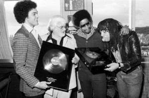 Rick James receiving his first gold album and single with Skip Miller, Barney Ales, Art Stewart, 1978 © 1978 Bobby Holland - Image 23742_0006