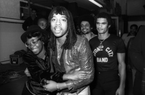 "Rick James during an in-store sales promotion at Freeway Record Store in Los Angeles for the album ""Bustin"