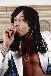 Rick James smoking a joint at home in the Hollywood Hillscirca 1979© 1979 Michael Jones - Image 23742_0131
