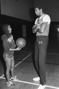 Patrice Rushen and Magic Johnson of the Lakerscirca 1980© 1980 Bobby Holland - Image 23854_0017