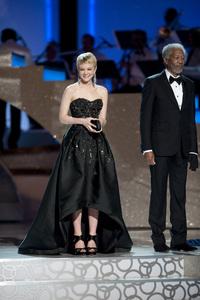 """The Academy Awards - 82nd Annual"" (Telecast) Carey Mulligan, Morgan Freeman 3-7-2010 Photo by Michael Yada © 2010 A.M.P.A.S. - Image 23908_0078"