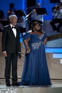 """The Academy Awards - 82nd Annual"" (Telecast) Morgan Freeman, Gabourey Sidibe 3-7-2010 Photo by Michael Yada © 2010 A.M.P.A.S. - Image 23908_0080"