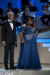 """The Academy Awards - 82nd Annual"" (Telecast) Morgan Freeman, Gabourey Sidibe 3-7-2010 Photo by Michael Yada © 2010 A.M.P.A.S. - Image 23908_0080"