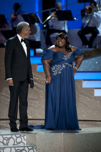 """The Academy Awards - 82nd Annual"" (Telecast) Morgan Freeman, Gabourey Sidibe 3-7-2010 Photo by Michael Yada © 2010 A.M.P.A.S. - Image 23908_0081"