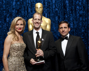 """""""The Academy Awards - 82nd Annual"""" (Backstage)Cameron Diaz, Pete Doctor, Steve Carell3-7-2010Photo by Darren Decker © 2010 A.M.P.A.S. - Image 23908_0346"""