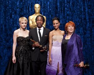 """The Academy Awards - 82nd Annual"" (Backstage)Carey Mulligan, Zoe Saldana, Roger Ross Williams, Elinor Burkett3-7-2010Photo by Darren Decker © 2010 A.M.P.A.S. - Image 23908_0350"